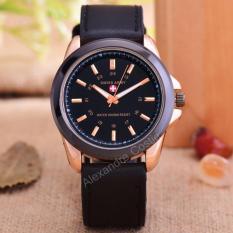 Swiss Army - Jam Tangan Pria - Body Rose Gold - Black Dial - Black Leather