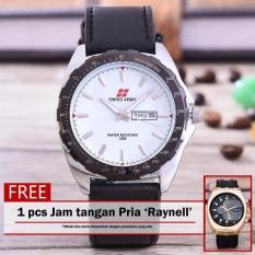 Swiss Army - Jam Tangan Pria - Body Silver - White Dial - Black Leather Strap - SA- 5579-SW-T / H-Putih -Kulit Hitam + Free Jam Tangan Raynell (White)