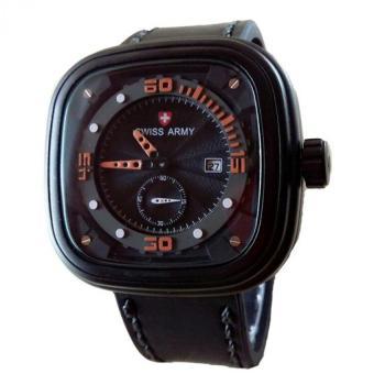 Swiss Army Jam Tangan Pria - Leather Strap - Black Orange- SA 4096 BO