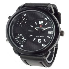 Swiss Army Jam Tangan Pria - Leather Strap - Black White - Sa 3545 BW - Triple Time