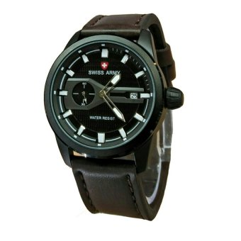 Swiss Army - Jam Tangan Pria - Leather Strap - SA1380 Dark Brown-White