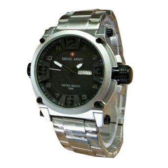 Swiss Army Jam Tangan Pria -Stainlees Stell -Silver Hitam Putih- SA3429SBW