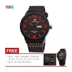Swiss Army Jam Tangan Pria + Tali + Jam Tangan Casual - Hitam Merah- Strap Kulit - SA0019 (One Size)
