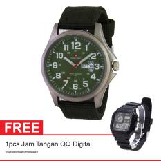 Swiss Army Kanvas Jam Tangan Pria - Kanvas - Hitam - SA 5105 ARMY + Gratis Jam Tangan QQ Digital