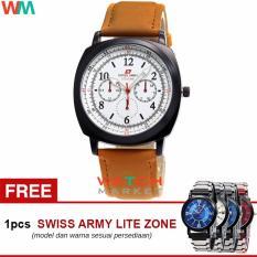 Swiss Army LZ001 Jam Tangan Pria + Jam Tangan Casual - Tali Kulit Coklat