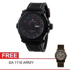 Swiss Army Mens Elegant - Hitam - Stainless / Kulit - SA 7169 BL RD + Gratis Swiss Army SA 1118
