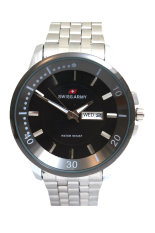 Swiss Army Men's Jam Tangan Pria - Body Silver Bezel Hitam - Stainless Steel Back - TW 0967 G