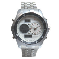 Swiss Army Men's - Jam Tangan Pria - Dual Time - Silver - SA 1518 M Bezel Silver Stainless Steel Back