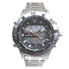 Swiss Army Men's - Jam Tangan Pria - Dual Time - Silver - SA 2101 Bezel Hitam - Stainless Steel Back