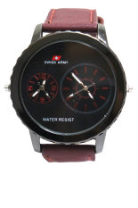 Swiss Army Men's Jam Tangan Pria - HItam - Stainless Steel Back - Dual Time - Jarum Merah