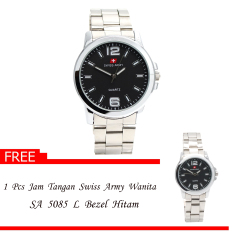 Swiss Army Men's - Jam Tangan Couple - Couple SA 5085 M / L Body Silver + Bezel Hitam - Silver - Stainless Steel Back