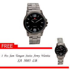 Swiss Army Men's - Jam Tangan Couple - Couple SA 5085 MB / LB - Hitam - Stainless Steel Back