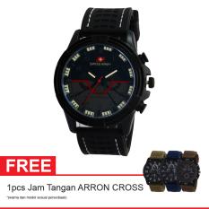 Swiss Army SA B115 BL WH Free Jam Tangan Arron Cross - Jam Tangan Pria - Resin - Hitam