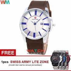 Swiss Army SA4124 Jam Tangan Pria -Biru Silver-Strap Kulit Coklat + Jam Tangan Casual