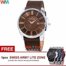 Swiss Army SA4124 Jam Tangan Pria -Coklat Silver-Strap Kulit + Jam Tangan Casual (Brown)