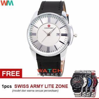 Swiss Army SA4124 Jam Tangan Pria -Putih Silver-Strap Kulit Hitam+Jam Tangan