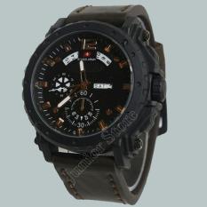 Swiss Army -SJR0955 - Jam Tangan Pria - Strap Kulit - Coklat Tua Putih