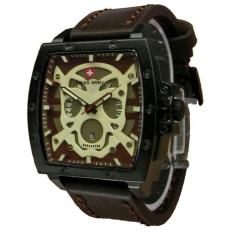 Swiss Army Skull - Jam Tangan Pria - Leather Strap - SA 4124 Dark Brown Skull