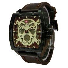 Swiss Army Skull - Jam Tangan Pria - Leather Strap - Sa 4124 Dark Brown Skull
