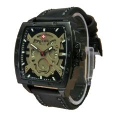 Swiss Army Skull - Jam Tangan Pria - Leather Strap - Sa 4124 Full Black Skull
