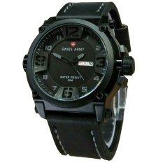 Swiss Army Tanggal SA7169 Jam Tangan Pria Strap Leather Full Hitam