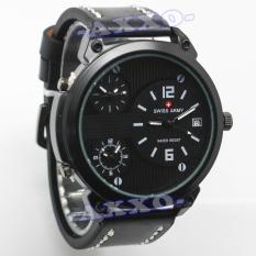 Swiss Army Triple Time - Jam Tangan Pria - Hitam Putih - Kulit - SA 0033 L