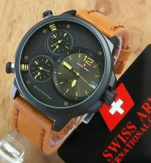Swiss Army - Jam Tangan Pria - Cokelat Tua - Leather Strap SA 4170 Triple Time