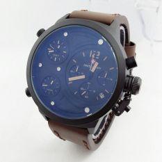 Swiss Army Triple Time SA4197ST - Jam Tangan Pria - Strap Tali Kulit - Chronograph - Coklat Tua