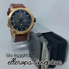 Swiss Navy 8935 Rose Gold Strap Brown - Jam Tangan Pria Chrono SN-8935RGC