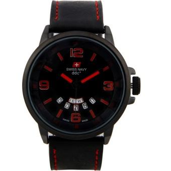 Swiss Navy Jam Tangan Pria Hitam Merah Leather Strap SN 1128