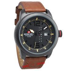 Swiss Navy - Jam Tangan Pria - SN-1133M - Strap Kulit - (Hitam Coklat) (Brown)