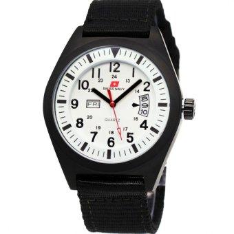 Swiss Navy Jam Tangan Pria - Strap Canvass- 8910- Hitam Putih