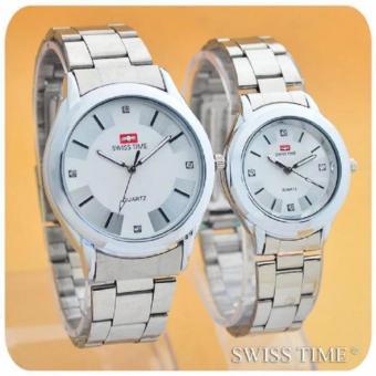 Swiss Time/Army - Jam Tangan Couple Stainless Steel - SA 8371