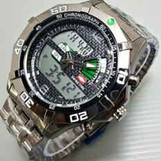 Swiss Time / Army Jam Tangan Pria ? Stainlesstell Strap ? Dual Time- S7676743 Hitam