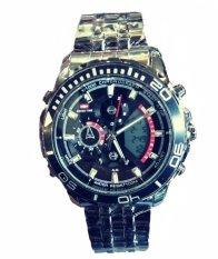 Swiss Time Dual Time - Jam Tangan Pria - Stainlesstell Strap - Full Black