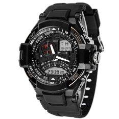 SYNOKE PU Strap Round Dial Digital & Quartz Watch Sport Waterproof Led Watch Ss67876_White