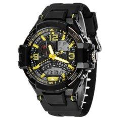 SYNOKE PU Strap Round Dial Digital & Quartz Watch Sport Waterproof Led Watch Ss67876_Yellow