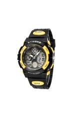 SYNOKE Waterproof Men's Boys Dual Time Display LED Digital Quartz Sports Watch with Stopwatch / Date / Alarm / EL Backlight Yellow