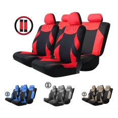 T20648 / BK + RD 13pcs Car Seat Cover Set Auto Vehicle Cushion Protector with Steering Wheel Wrap Shoulder Belt Pads - intl
