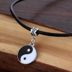 Tai Chi Yin And Yan Boho Tibetan Silver Leather Cord Choker Necklace - Intl