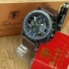 Tetonis Original TS3433BS - Jam Tangan Pria - Chrono Aktif - Leather Strap Coklat Tua- Free Pulpen Executive (Blue)