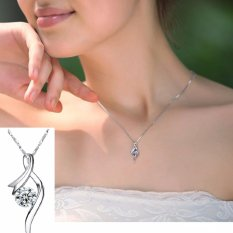 The Angel Teardrop Pendant Pattern Time Charming Necklace Vintage Silver Natural Crystal Fine Jewelry Pendant Chain