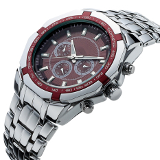 The High Quality TTLIFE Luxury Brand TC010 Men's Fashion Precision Three-Eyes Decoration Quartz Wristwatch (Red)