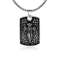 Tiaria Tiaria N070 Titanium Fashion Vintage Pendant Necklace Aksesoris Kalung Lapis Emas 18K - Silver (Silver)