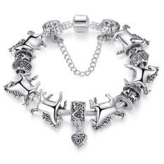Tibetan Silver Horse Animal Charm Bracelet Womens Fashion Jewelry LB462 Silver