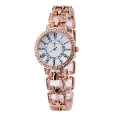 TIME100 Fashion Diamond Skeleton Roman Numerals Rose Gold Bracelet Ladies Quartz Watch W50220L.03A (Intl)