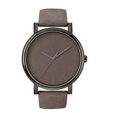 Timex Unisex T2N795AB Originals Gunmetal-Tone Watch With Grey Genuine Leather Band (Intl) - Intl