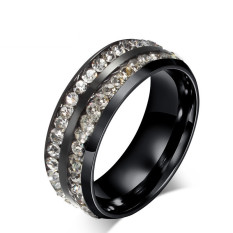 Titanium Steel Black Double-row Rhineston Ring For Men Great For Gifts