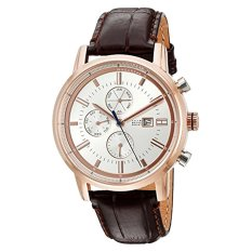 Tommy Hilfiger Men's Rose Gold-Tone And Leather Casual Watch, Color:Brown (Model: 1791246) - Intl
