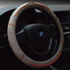 Top Leather Car Steering Wheel Cover Anti-slip Soft Breathable Automotive Interior Accessories Piercing 15 Inch Steering Wheel Wrap (Beige / Orange Line)